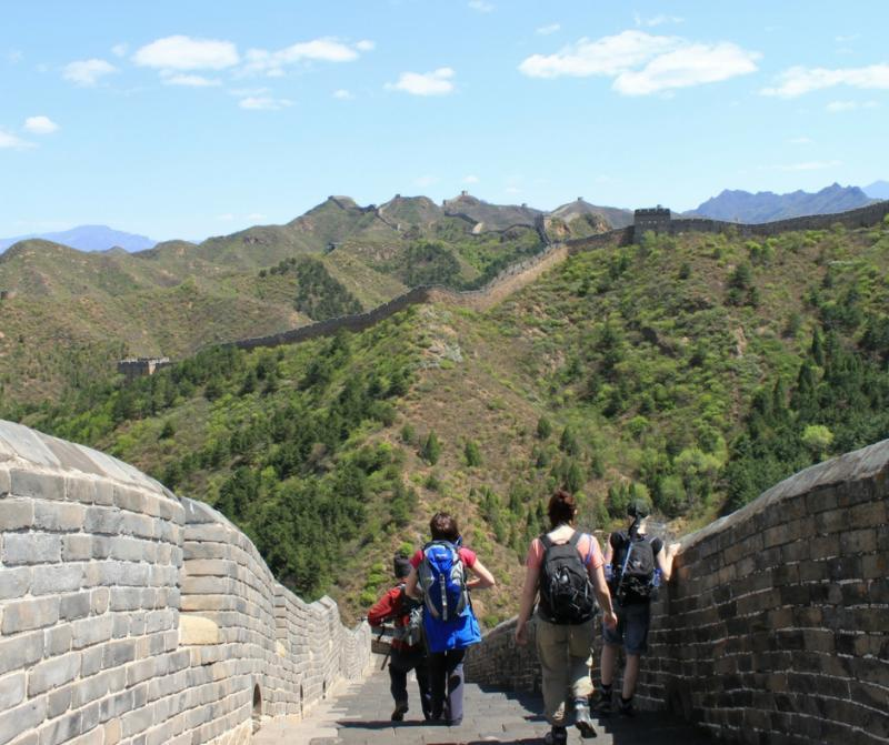 Trekkers enjoy the Great Wall of China