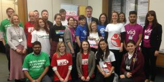 VSO volunteers and other supporters of the 0.7% aid target meeting parliamentarians today