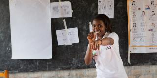 A student at Umutara School for the Deaf