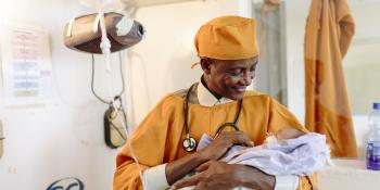 A doctor with a newborn baby in Ethiopia