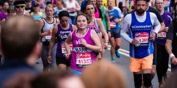 VSO supporter Marie mid-marathon, raising money for VSO