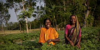 Two female farmers laugh together as they harvest crops
