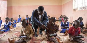 Volunteer Teonas Kalumika at an Unlocking Talent classroom in Malawi