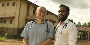 VSO volunteer doctors Dr Kiran Cheedella and Dr David Knight at Makeni Government Hospital