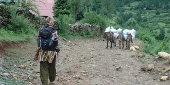 Willeke Gerritsen walks to her placement in Nepal.