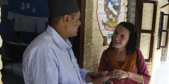 Rakesh, the headteacher of Himalaya school with Beth of VSO
