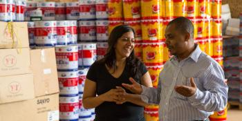 Anuradha Banerjee and Nassor Salim Al-Miskiry, managing director of Rans Building Company, a small business Anuradha is supporting