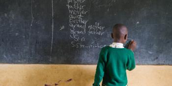 A student answers a question during a lesson about relatives and family in English class at Hamugongo Primary School in Kagera, Tanzania.