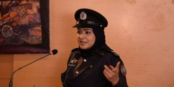 Shehla Qureshi speaks at a conference in Karachi, Pakistan