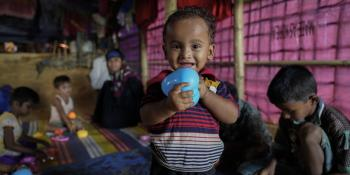 Rohingya children play with the toys donated by VSO