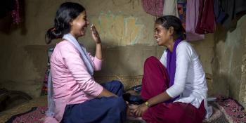 School girl Arti and big sister Anu in Nepal