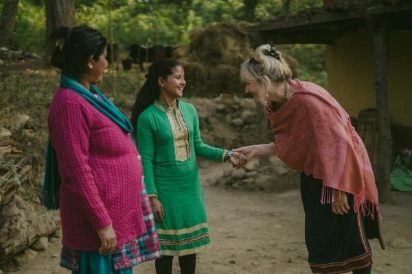 Volunteer Anne with Nirmala and Durga. Anne is supporting a project encouraging girls to stay in school in Nepal.