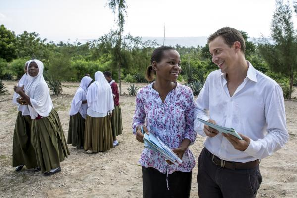 VSO volunteer Paul Jennings and local teacher Rebecca Ngovano. Angaza school, Lindi, Tanzania