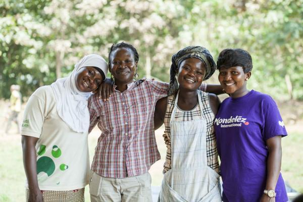 Staff and volunteers in Ghana supporting Mondelez Cocoa Life programme