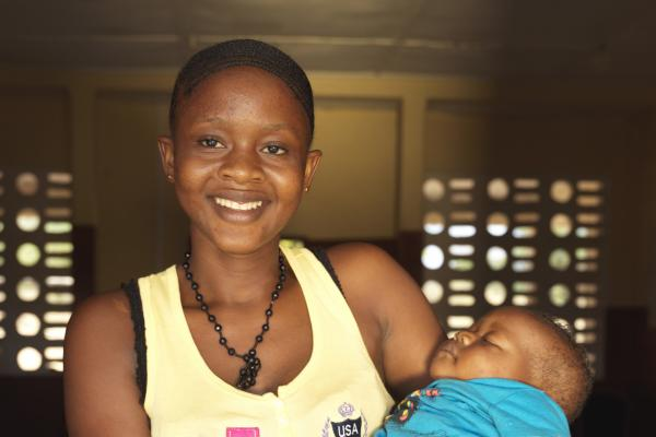 Fatu Conteh, 18, with her 6 month old baby