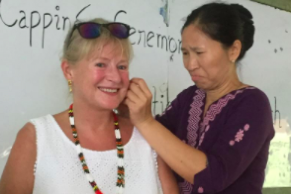 Staff at the college in Yangon, Myanmar, gave Carol earrings as a thank you for all her hard work.