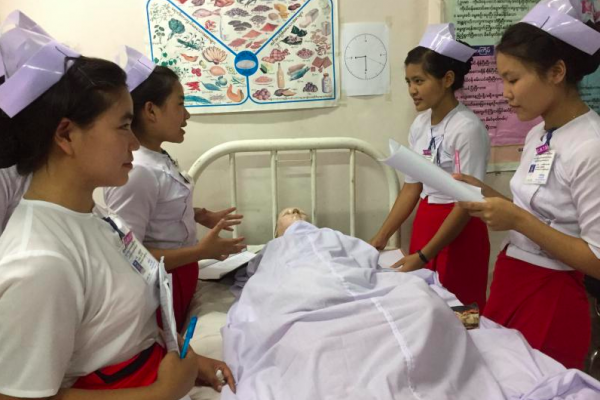 A group of nurses attend a training session in Myanmar