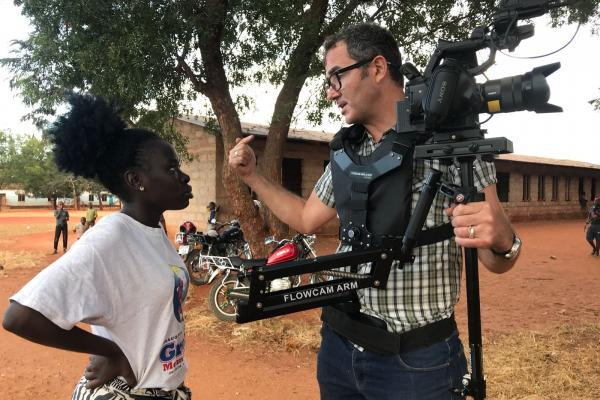 Volunteer filmmaker Justin on set in Tanzania