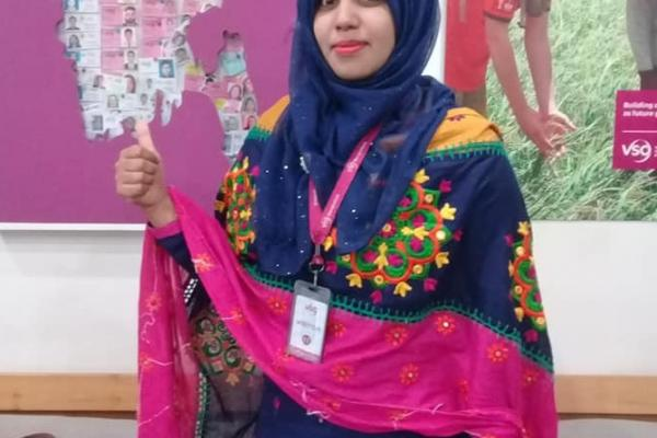 Afroza Khatun set up a business selling sanitary pads in her community.
