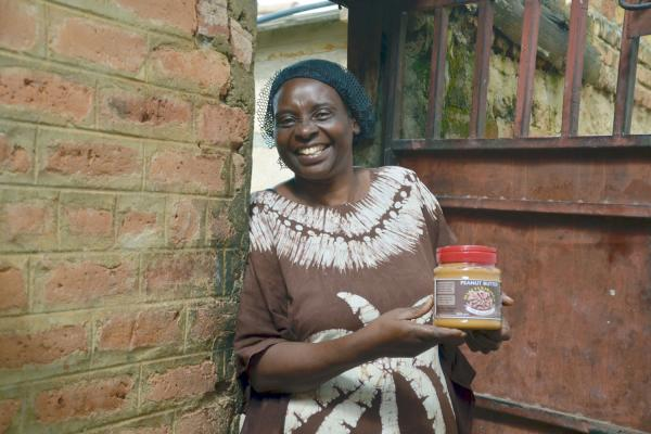 Celina Kisha Chibanda, owner of Chi products, with one of her jars of peanut butter