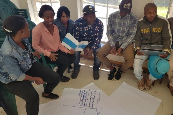 Young people take part in a group session to rate sexual health services in Mafeteng, Lesotho